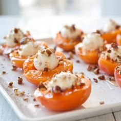 Goat Cheese Stuffed Apricots: 12 apricots,    6 to 8 ounces goat cheese, 3 tbs raw honey, 1/4 cup chopped pecans. Cut the apricots in half and remove the pits. Grab a small piece of goat cheese, about the size of the pit you just removed and roll it into a ball. Place it in the center of the apricot. Drizzle with honey, sprinkle with pecans.    I also cut these in half again before serving, but that's your call.