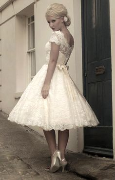 tea length wedding dress with lace.