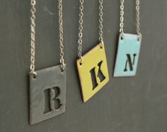 Custom Initial enamel pendant necklace on by LuckyAccessories, $35.00