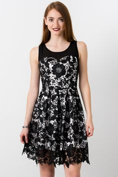 Suzy Shier Floral Lace Dress