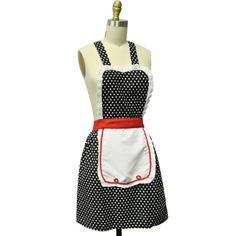 Kella Milla Retro 50's Polka Dot Apron - fun vintage-look hostess apron