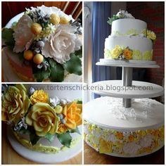 two tier fondant wedding cake with yellow an white gumpaste flowers with cake stand