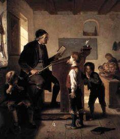 """""""Schoolroom discipline"""". Julius Geertz (1837 – 1902) German painter."""