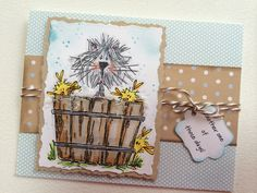 This card is done with stamps by Judith. The bubbles in the tub are white flower soft.