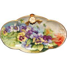 Beautiful Limoges Hand Painted Pansies Split Handle Tray