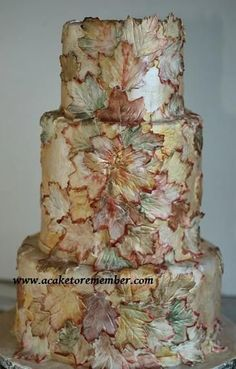 Fall Cake ~ Gumpaste leaves painted with food coloring and luster dusts.~ all edible