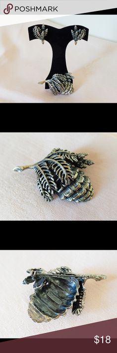 "Vintage BOTTICELLI Pine Cone Brooch & Earrings Botticelli was a high end costume jewelry company only in business 1969-76, so pieces are very hard to come by. Oxidized silver tone metal. Brooch is 2 1/4"" x 1 3/4"", clip earrings are 1 1/8"" x 3/4"". All are signed & in excellent condition. Vintage Jewelry Brooches"