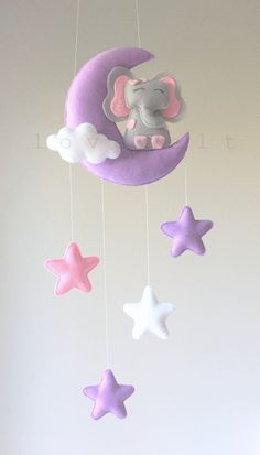 Baby mobile - cloud mobile - elephant mobile - moon and stars mobile - Baby Nursery: Mobiles - Design Star Mobile, Cloud Mobile, Felt Mobile, Mobile Mobile, Felt Crafts, Diy And Crafts, Crafts For Kids, Elephant Mobile, Baby Car Mirror