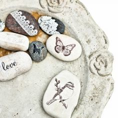 Decorate your beach finds with rub-ons. As easy as 1-2-3. (In Swedish and English)