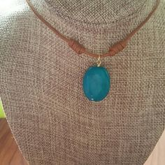 turquoise necklace Really pretty stone, in  a caramel leather necklace that slides up to make it 13 ich long or slide down to make it a choker. Jewelry Necklaces