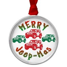 red green merry jeepmas christmas ornament yellow jeep wrangler jeep renegade christmas tree decorations - Jeep Christmas Decorations