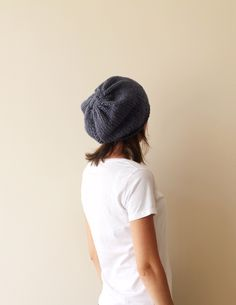 Hand knitted denim hat made with acrylic and wool yarn.  Soft and very stylish.  Has a perfect fit! One size fits all.