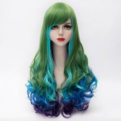 Vogue Side Bang Multicolor Gradient Lolita Long Synthetic Shaggy Wave Party Wig For Women