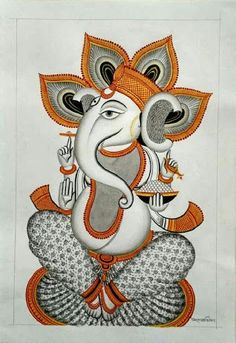 Ganesha Drawing, Lord Ganesha Paintings, Ganesha Art, Krishna Painting, Shri Ganesh, Madhubani Art, Madhubani Painting, Kalamkari Painting, Indian Traditional Paintings