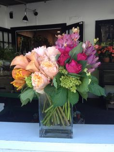 hydrangea, tulips, garden roses, orchids, parrot tulips, cala lilies, campanella roses