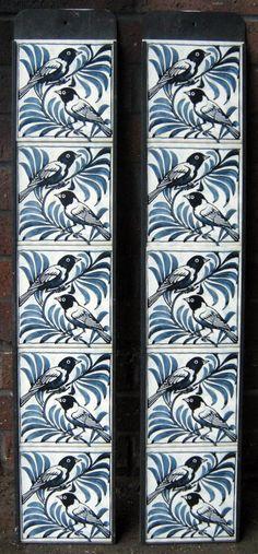 William de Morgan Fireplace Tiles set Weaver Bird.