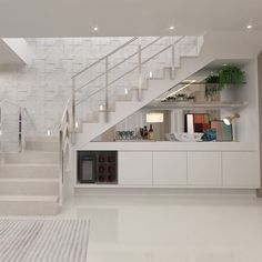 Stair Shelves, Staircase Storage, House Staircase, Modern Staircase, Home Stairs Design, Interior Stairs, Home Room Design, House Front Design, Modern House Design
