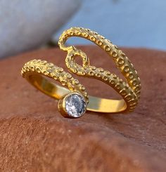 Excited to share this item from my #etsy shop: Gold octopus ring, zircon gem ring, tentacle ring, gold adjustable ring, octopus ring with gemstone, octopus ring, tentacle ring, gold ring Garnet Stone, Garnet Rings, Handmade Sterling Silver, Sterling Silver Jewelry, Octopus Ring, Greek Jewelry, Tentacle, Gold Fashion, Silver Rings