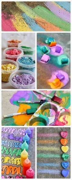 15 gorgeous recipes and activities for sidewalk chalk paint - perfect for summer fun!