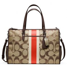 Coach Baby Bag Signature Stripe Double Zip Tote ($398) ❤ liked on Polyvore