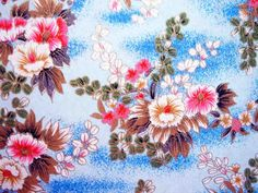 Japanese hand-made paper | Yuzen washi; flowers pattern. From the collection of tengds.