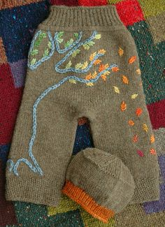 Autumn knit baby pants...