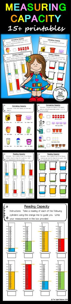 $2 - Measuring Capacity - 15+ printables worksheets maths