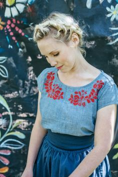 Spring looks from Hanna Andersson--love the red embroidery on chambray.