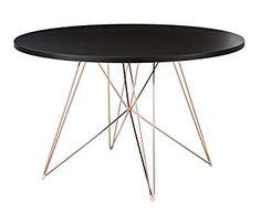 magis TAVOLO XZ3 rund xz 3 gestell kupfer, platte schwarz, Designer tisch