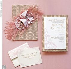 Blush pink and gold wedding invitations... im thinking i live pink and gold now.. hmmm
