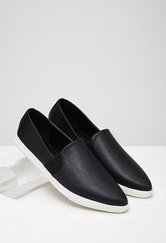 Pointed Faux Leather Slip-Ons | Forever 21 - 2000077500