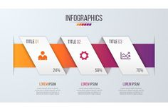 Paper style infographic timeline design template with 3 steps.. Presentation Templates