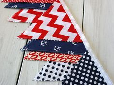 Bunting Banner, Photography Prop, Fabric Flags, Nautical Nursery Decor - Red, Navy Blue, Chevron, Stripes and Anchors - Ready to Ship