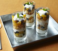 Peach Blueberry Parfait! (Great for this time of year-- July is National Blueberry Month, and August is National Peach Month!)