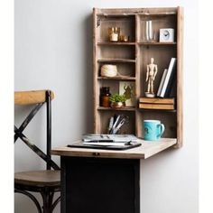 Product Image for The Rustic Home Wall-Mounted Fold Away Desk 3 out of Contemporary Rustic Decor, Diy Rustic Decor, Home Office Design, Home Office Decor, Office Ideas, Kids Office, Office Nook, Office Style, Office Furniture