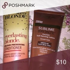 Two product bundle Full sized new tube of John Freida Everlasting sheer blonde color protect conditioner, never used, and a new tube of L'Oréal sublime streak-free bronze self tanning lotion for medium tan. john freida Other