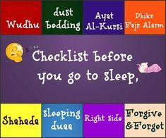 Sleeping #Checklist #Muslim #Sunnah