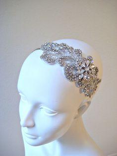 Vintage style bridal crystal beaded wedding headpiece with marquise jewel piece  CRYSTAL LEAF.