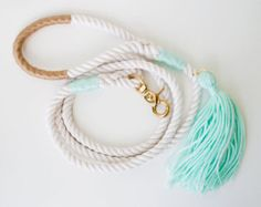 Pink Dog Leash / Wedding Dog Leash  Nautical dog leash made from 3 strand cotton rope, accented with rose and gold. Its the classic rope dog lead, dressed up with a little bit of color, style and saltiness. Use it for weddings, parties or make every day special.  The dusty pink color scheme is brand new and Ill confess I am in love with it! Blush has been my go-to favorite shade for years but this slightly deeper rose hue feel so fresh and current. The pink is slightly muted so instead o...