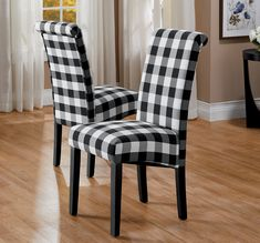 """Parsons chairs are incredibly comfortable with padding throughout and fun to use with add-on chair covers for a seasonal style refresh (sold separately). Faux leather; wood legs painted black. Easy to assemble. 300-lb. capacity. 17"""" w x 38"""" h x 21"""" d each. 