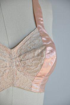 94f0087319dbd vintage 1950s pink satin Dita Von Teese bombshell bullet bra
