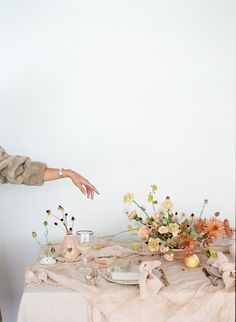 Great blush reception table with a pop of color in the florals (and loving the taupe of the coat with the blush)! Wedding Table Decorations, Wedding Table Settings, Decoration Table, Fun Valentines Day Ideas, Romantic Table Setting, Wedding List, Blush Pink Weddings, Table Flowers, Reception Table