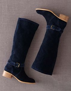 Casual Winter Boots in Navy Suede. Boden