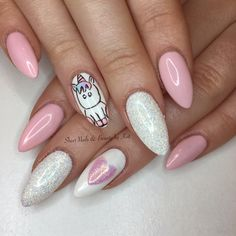 Prohesion sculpted acrylics with gelish pink colour once upon a mani with magpie glitter Lilly and freehand nailart unicorn and heart