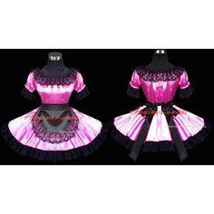 Free Shipping Sexy Sissy Maid Dress Satin Pink Dress Uniform Cosplay Costume Custom-made
