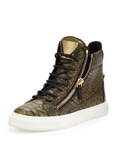 2844bdc1eaa89e Snake-Print Zip High-Top Sneaker
