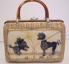Wicker Purse with Poodle Motif. 1960s