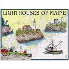 Lighthouses Of Maine Tourist Metal Sign. Lantern Press is a renowned art studio known for vintage style artwork inspired by world travel posters, such as this nostalgic graphic of Maine's historic lighthouses. Hang it in your home, office, or business and enjoy an old fashioned view of the world.
