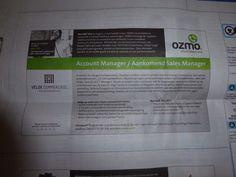 Mooi werk bij Ozmo via Velde Groep in De Telegraaf van 20-9-2014
