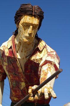 Giant metal pool player at the Neon Boneyard - Las Vegas